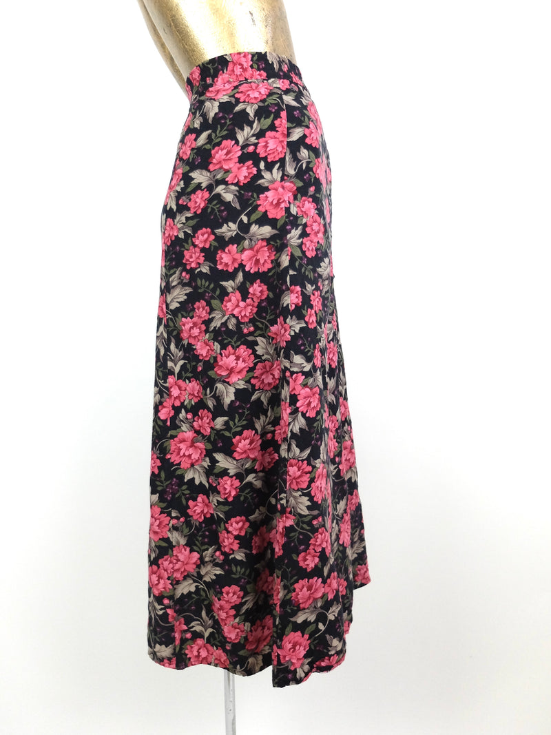 80s Romantic Bohemian Floral High Waisted Circle Maxi Skirt