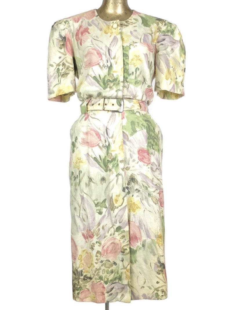 80s Romantic Bohemian Floral Print Half Sleeve Button Down Midi Dress with Belt
