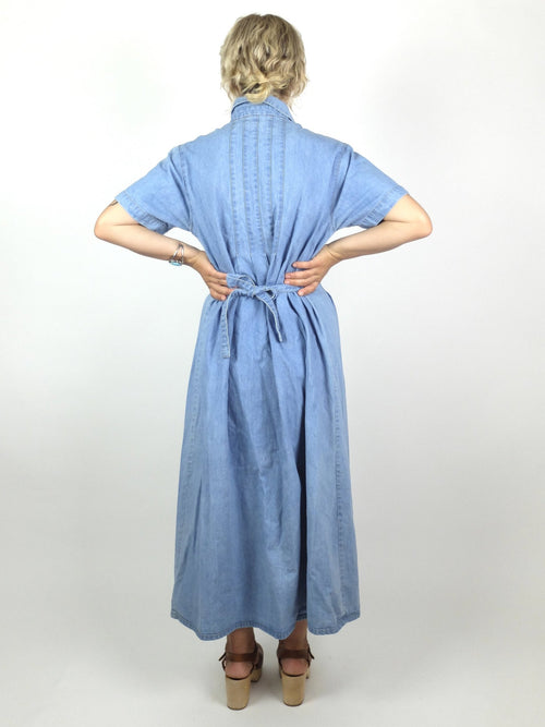 80s Prairie Bohemian Collared Short Sleeve Button Down Light Wash Denim Maxi Dress