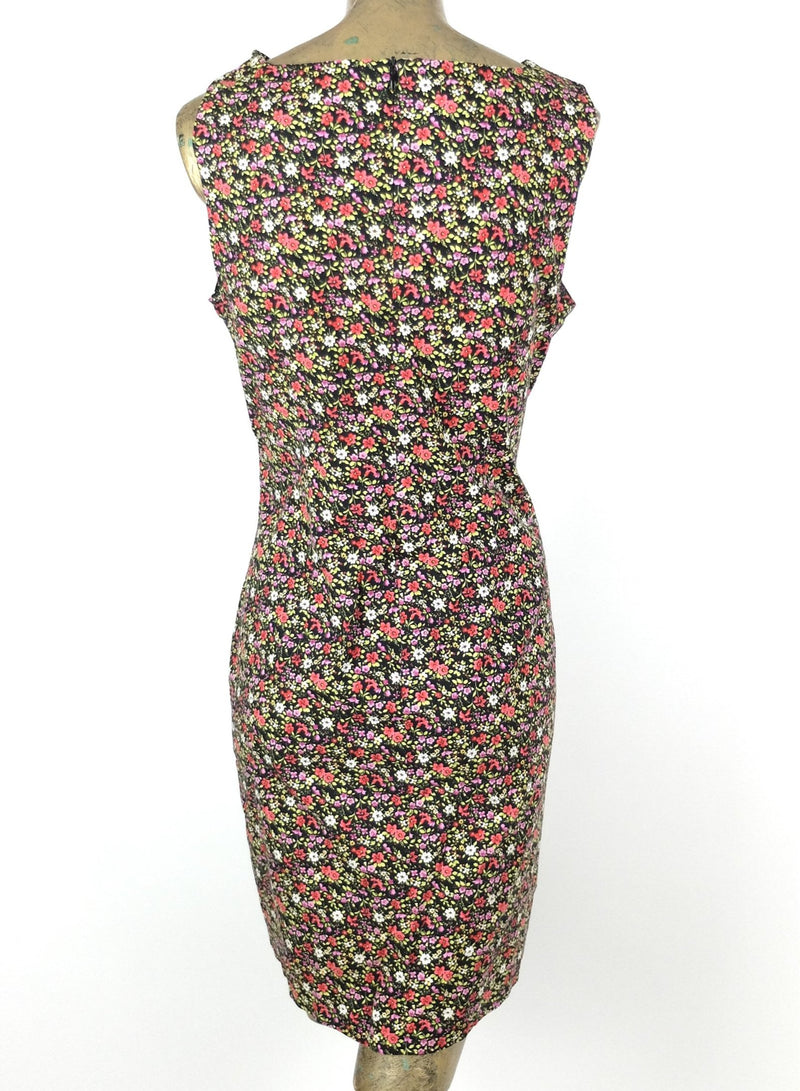 90s Floral Sleeveless Above-the-Knee A-Line Pencil Mini Tank Dress