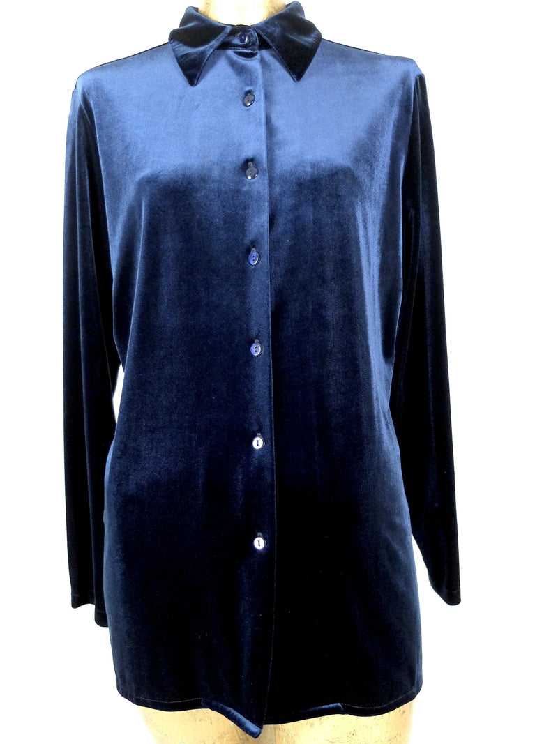 80s Royal Blue Velvet Long Sleeve Collared Button Up Blouse