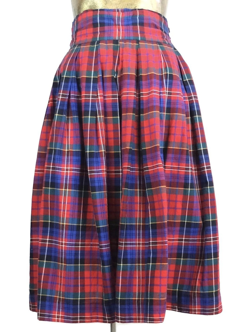 60s Mod Red and Blue Tartan Plaid Check Print High Waisted Full Circle Maxi Skirt