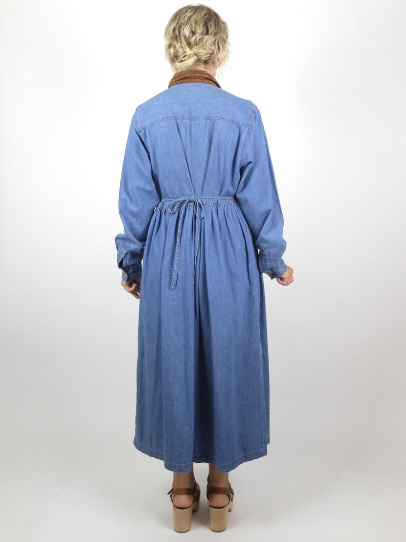 80s Bohemian Hippie Prairie Western Blue Denim Collared Long Sleeve Button Up Dress