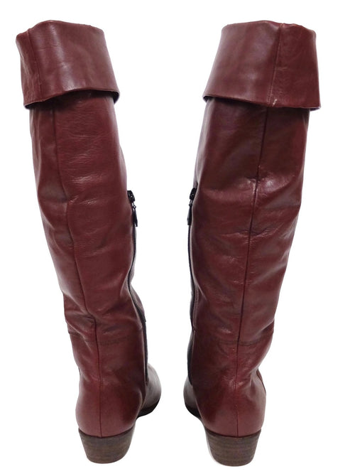 Vintage 80s Maroon Burgundy Red Waxed Leather Knee High Zip Up Shearling Lined Pointed Toe Winter Boots