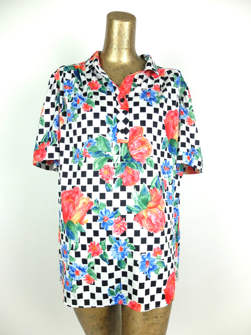70s Mod Checkered Floral 3/4 Collared Button Up Half Sleeve Shirt