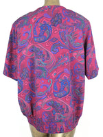 80s Psychedelic Paisley Abstract Button Up Short Sleeve Blouse with Elasticated Waist