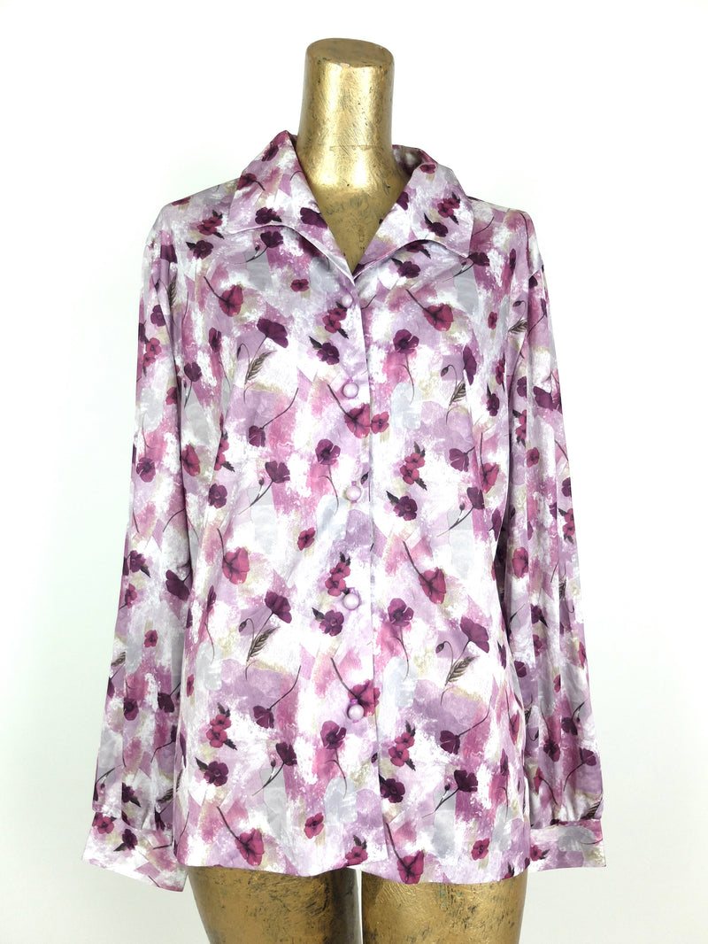 70s Mod Purple Floral Collared Long Sleeve Button Up Blouse