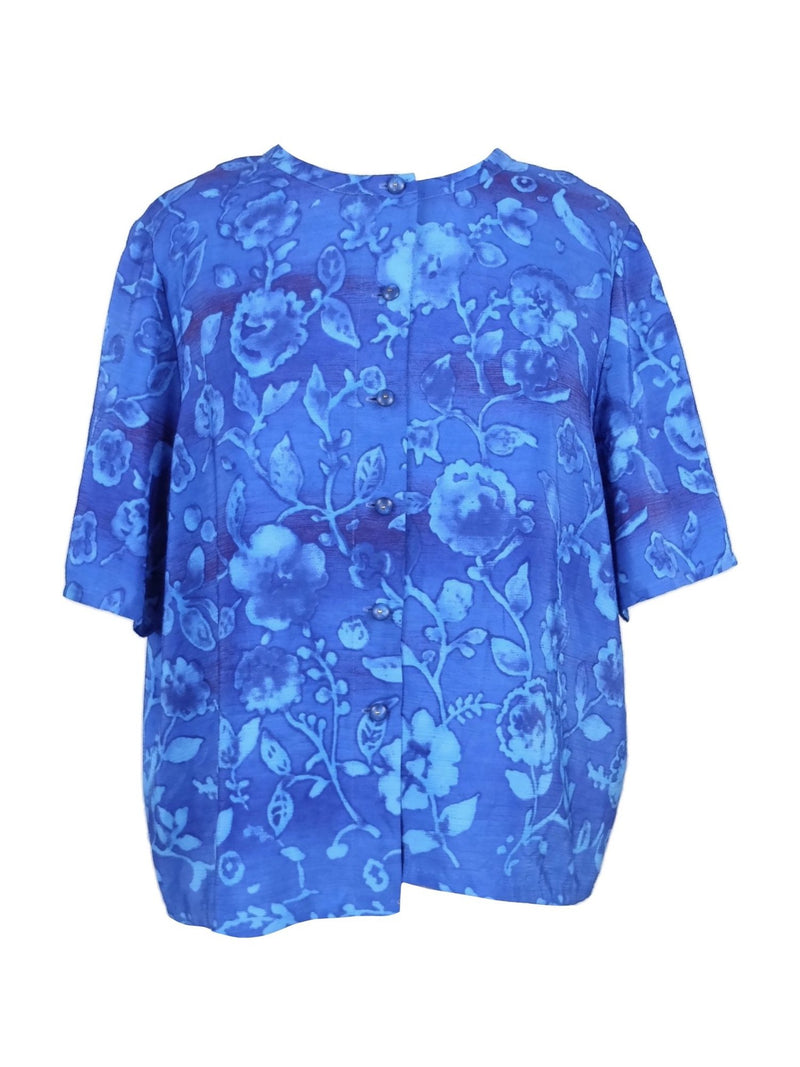 Vintage 80s Bright Blue Floral Short Sleeve Button Down Boxy Blouse
