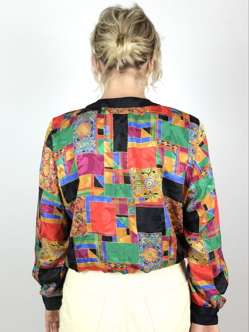 70s Mod Abstract Geometric Long Sleeve Button Up Blouse with Waistband