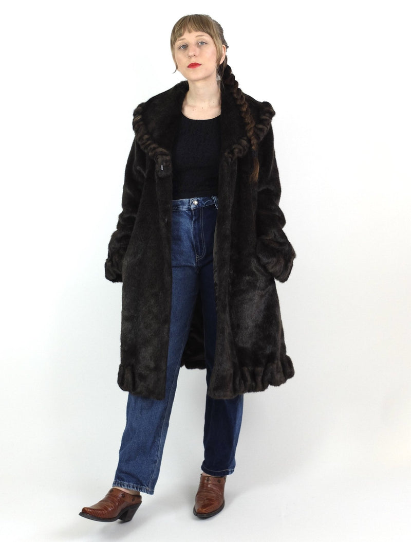 80s Ruffled Dark Brown Faux Fur Long Winter Coat with Pockets