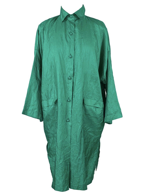 Vintage 80s Avant-Garde Silky Collared Long Sleeve Button Down Thin Kimono Style Duster Tunic Midi Dress
