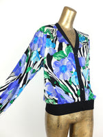 70s Glam Rock Silky Zebra Animal Print Floral Long Sleeve Button Down V-Neck Cardigan Blouse