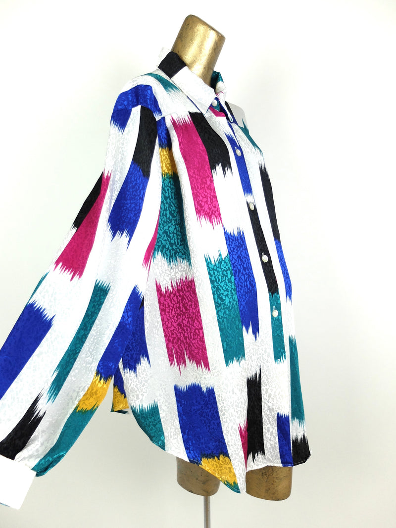 70s Abstract Silky Multicolored Collared Long Sleeve Button Up Disco Shirt