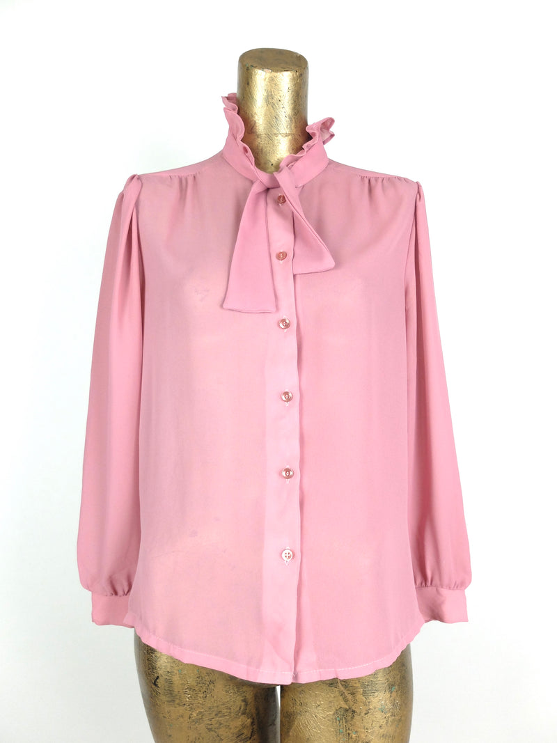 60s Mod Baby Pink Ruffled Collar Long Sleeve Chiffon Button Up Blouse with Neck Tie