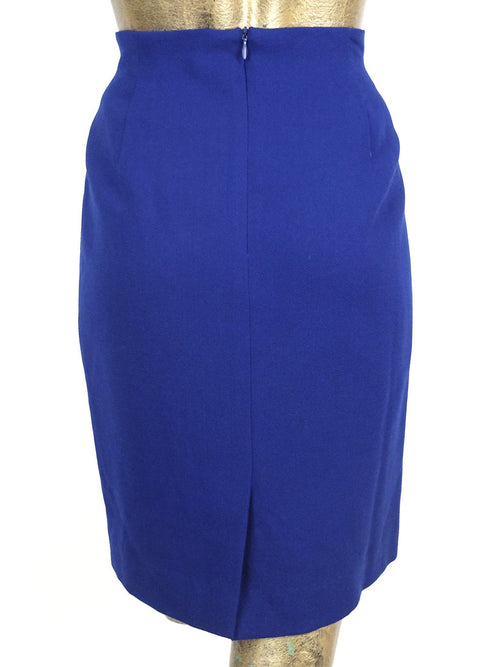 70s Royal Blue Wool High Waisted Basic Above-the-Knee Mini Pencil Skirt