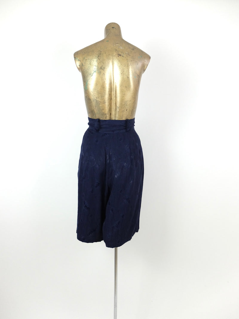70s Mod Ultra High Waisted Patterned Dark Blue Silky Bermuda Short
