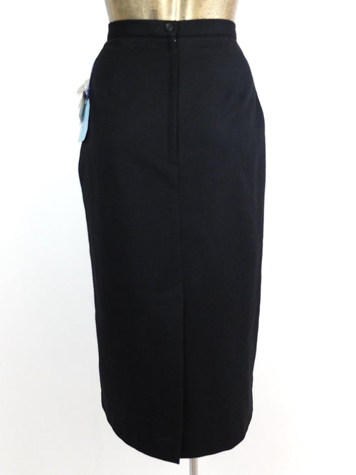 80s Deadstock Black Basic Wool High Waisted Pencil Midi Skirt