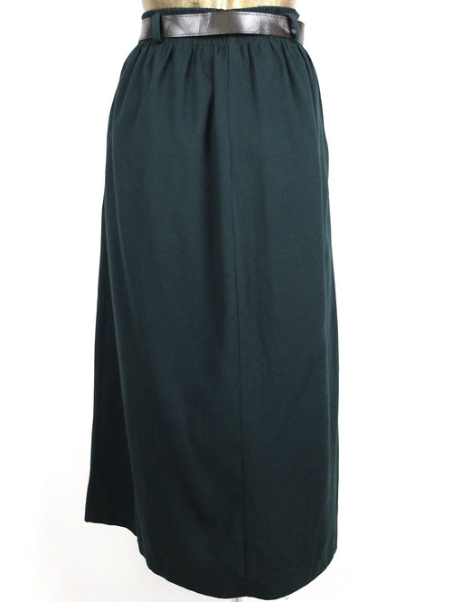 80s High Waisted Forest Green Basic Pleated A-Line Maxi Skirt with Belt