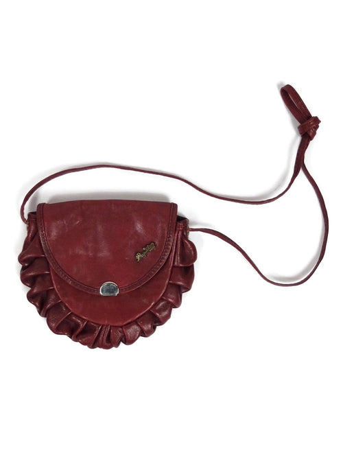 Vintage 60s Mod Deep Red Leather Ruffled Mini Crossbody Pouch Purse Bag