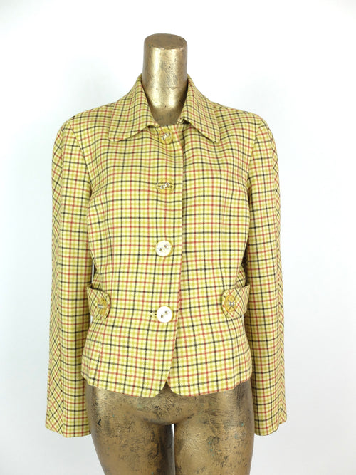 70s Mod Yellow Check Print Collared Button Down Blazer Jacket