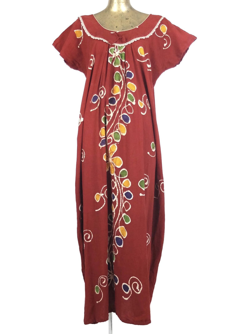 70s Psychedelic Hippie Butterfly Sleeve Maxi Dress