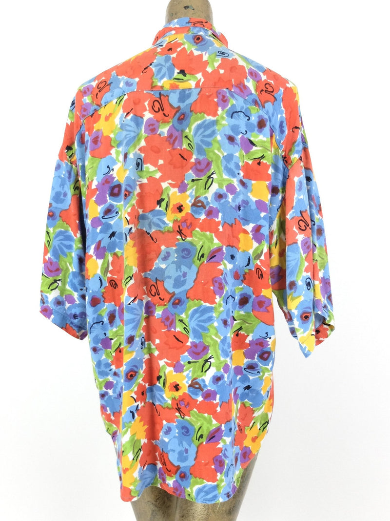 80s Multicolored Abstract Floral Short Sleeve Collared Button Up Shirt
