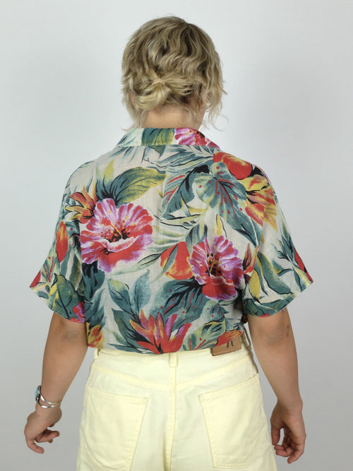 30s Tropical Floral Collared Half Sleeve Button Up Hawaiian Shirt