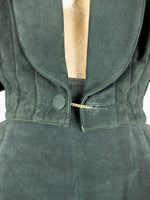 80s Wilsons Forest Green Suede Leather Cropped Structured Boxy Blazer Jacket
