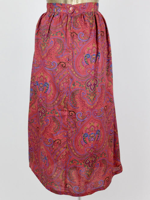 80s High Waisted Paisley Patterned Pleated Midi Skirt