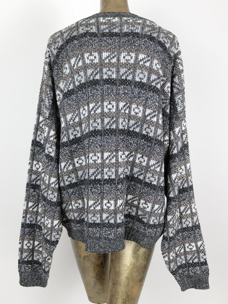 80s Grey Abstract Geometric Crew Neck Pullover Knit Sweater Jumper