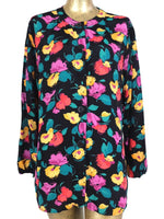80s Floral Abstract Long Sleeve Button Up Blouse