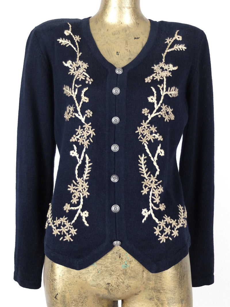 80s Pullover Floral Embroidered Knit Sweater Jumper with Front Buttons