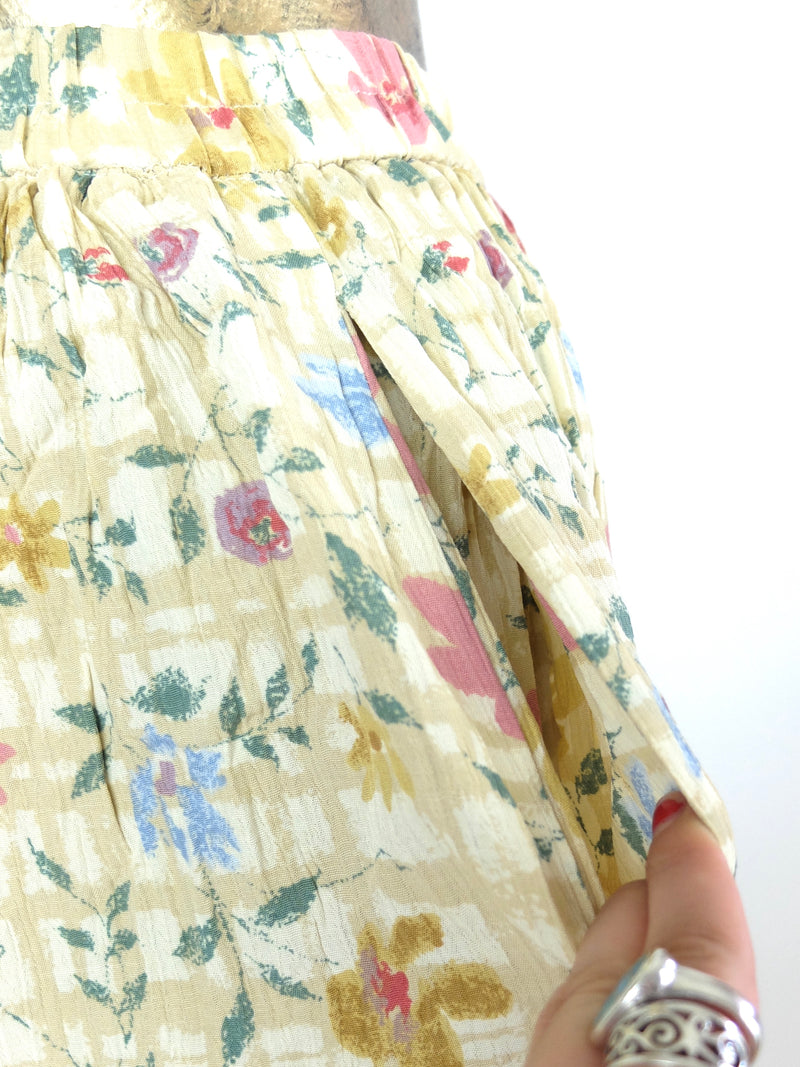 80s Pastel Yellow Floral Print High Waisted Full Circle Midi Skirt with Pockets