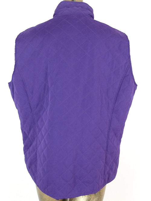 2000s Purple Quilted Turtleneck Sleeveless Outerwear Snap Button Down Vest