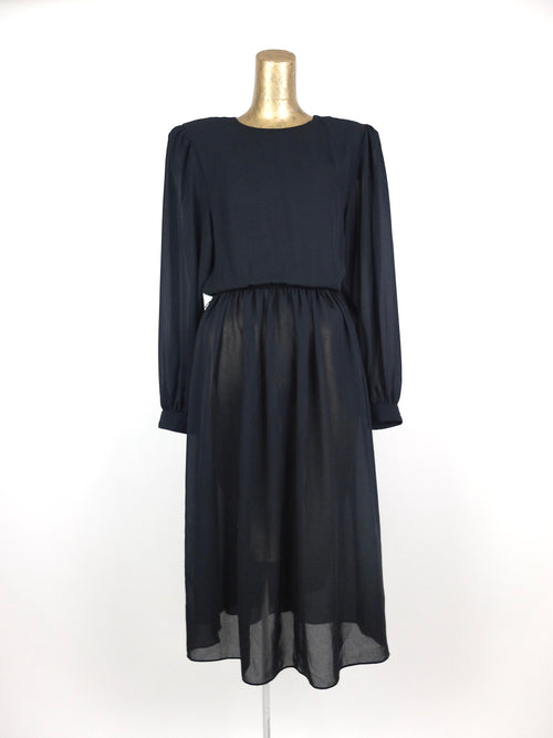 70s Black Chiffon Long Sleeve Fit and Flare Sheer Circle Midi Dress