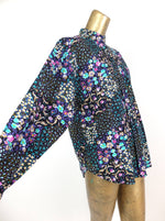 70s Western Prairie Psychedelic Floral Ruffled Long Sleeve Button Up Shirt