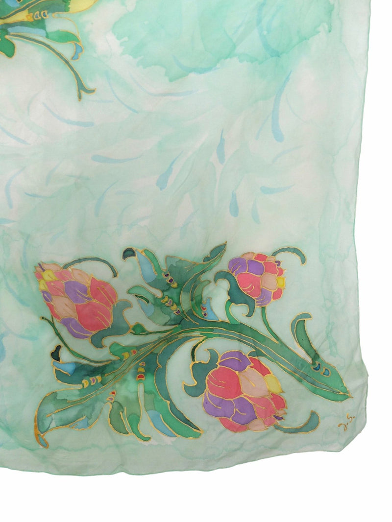 Vintage 70s Floral Silk Handpainted Marbled Watercolour Print Square Bandana Neck Tie Scarf