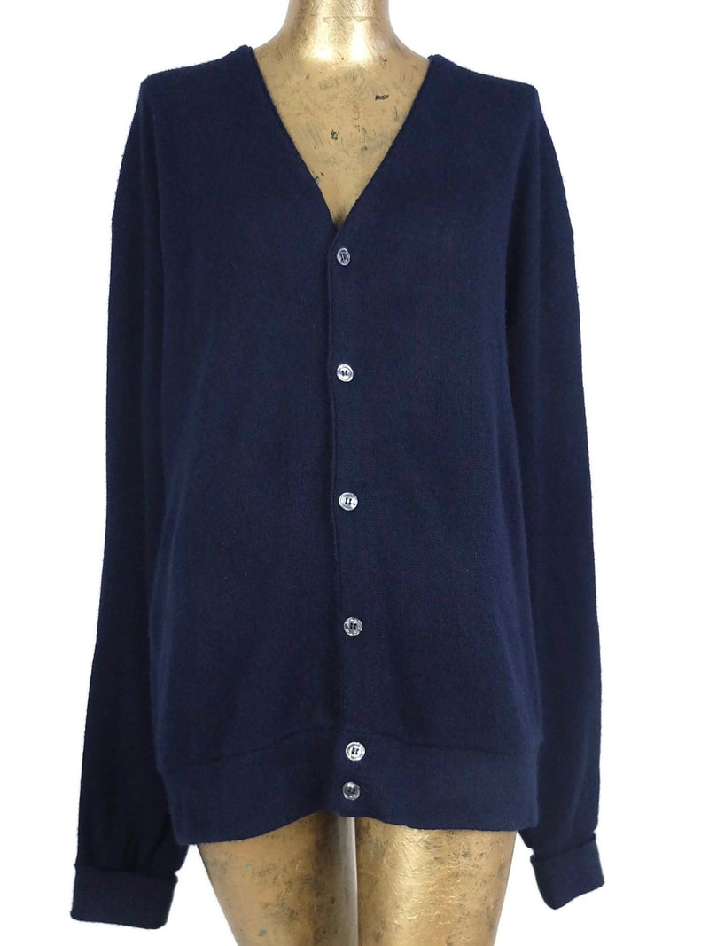 70s Navy Blue Button Down V-Neck Cardigan Sweater