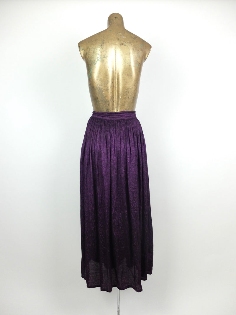 90s Bohemian Purple Festival Style Drawstring High Waisted Circle Maxi Skirt