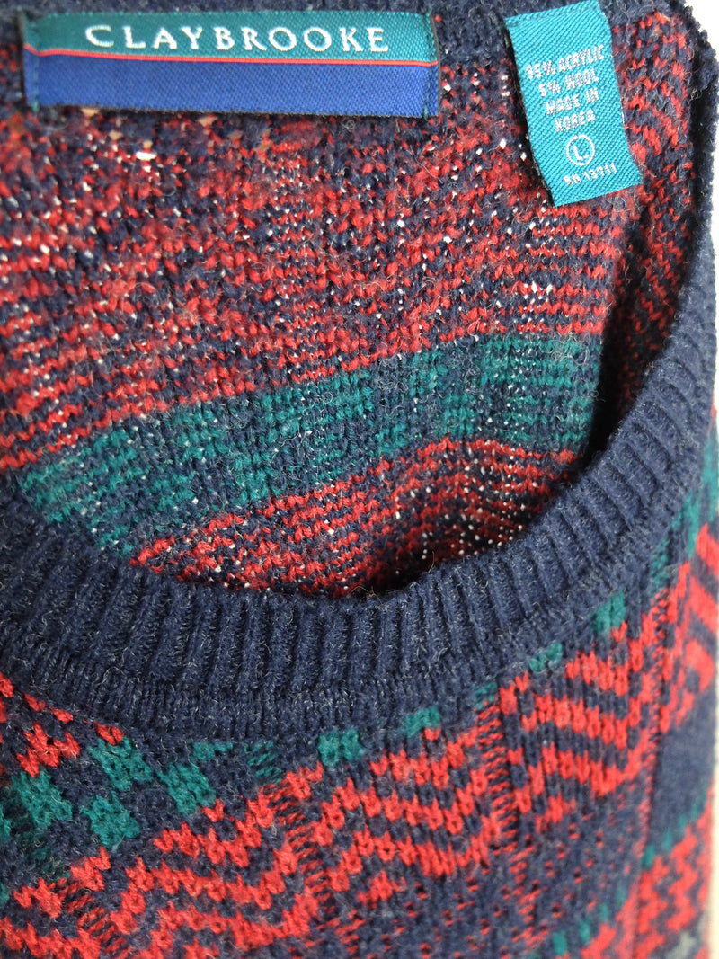 80s Red and Blue Abstract Knit Crew Neck Pullover Sweater Jumper