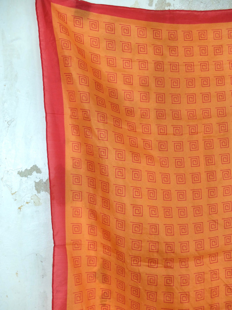 Vintage 80s Orange and Red Abstract Geometric Silk Square Bandana Neck Tie Scarf