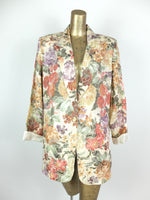 80s Floral Tapestry Collared 3/4 Sleeve Blazer Jacket with Padded Shoulders