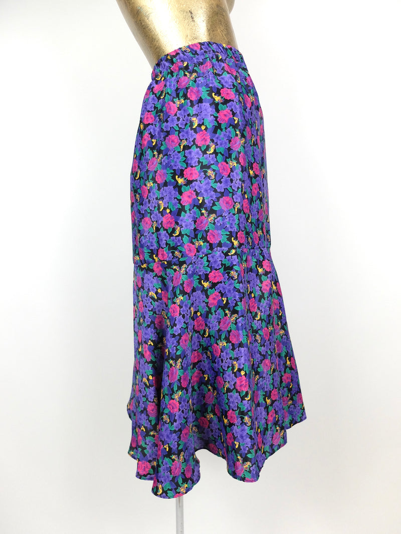 80s Bohemian Floral Asymmetrical High Waisted Ruffled Midi Skirt