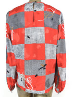80s Silky Abstract Check Print Long Sleeve Pullover Blouse