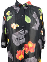 Vintage 70s Psychedelic Floral Geometric Black Sheer Half Sleeve Collared Button Up Hawaiian Shirt Blouse