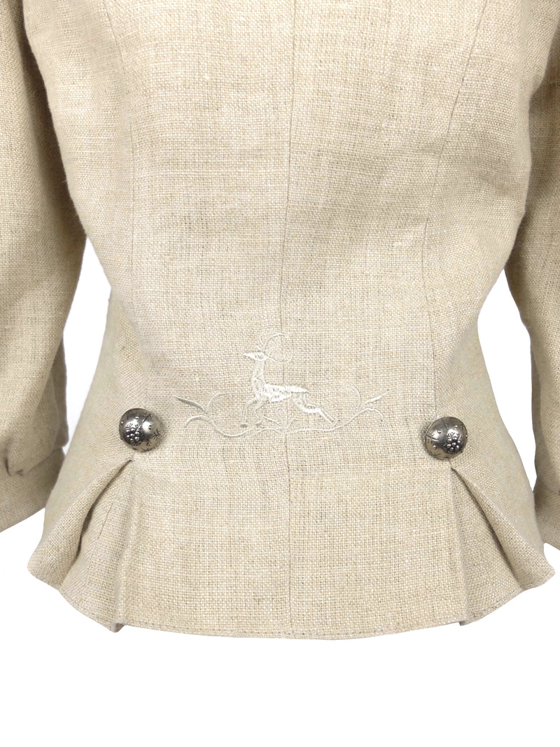 Vintage 70s Cottagecore Milkmaid Prairie Beige Puff Sleeve Button Down Fitted Blazer Jacket with Metal Statement Buttons