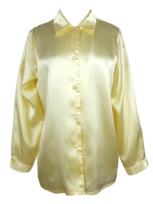 Vintage 80s Pastel Yellow Silky Collared Long Sleeve Button Up Disco Shirt Blouse