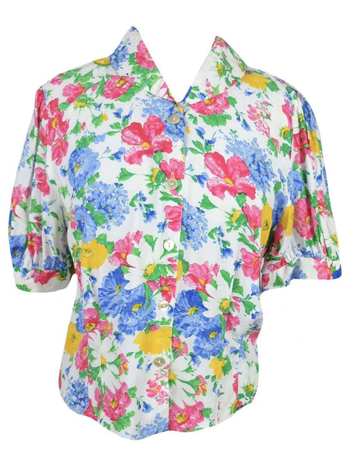 Vintage 80s Puff Sleeve Collared Floral Print Button Up Blouse