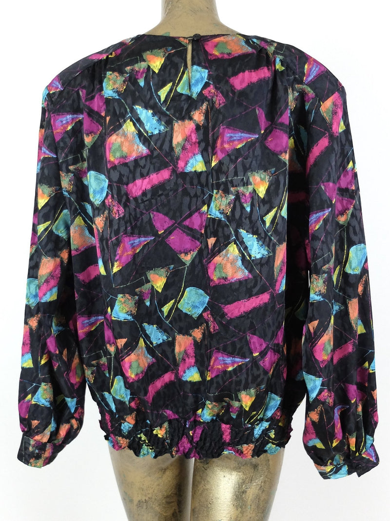80s Abstract Geometric Print Silky Long Sleeve Blouse with Elasticated Waist