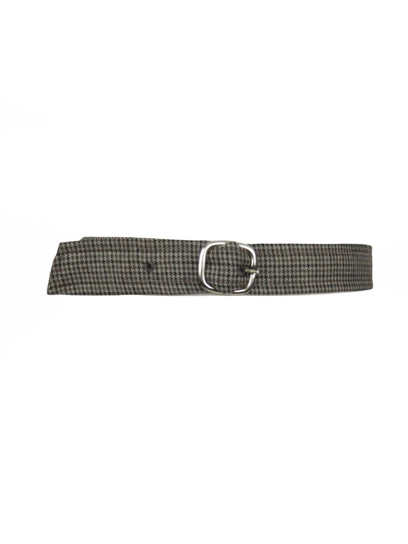 Vintage 60s Mod Houndstooth Grey and Brown Thin Buckle Belt